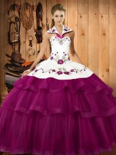 Exceptional Halter Top Sleeveless Organza 15 Quinceanera Dress Embroidery and Ruffled Layers Sweep Train Lace Up