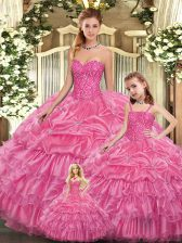 Most Popular Organza Sleeveless Floor Length Quinceanera Gowns and Beading and Ruffled Layers