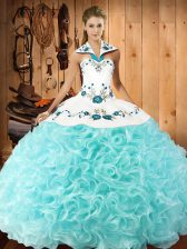 Fabric With Rolling Flowers Sleeveless Floor Length 15th Birthday Dress and Embroidery