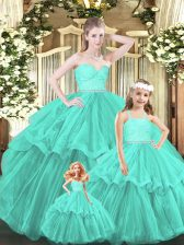 Sweetheart Sleeveless Quinceanera Gown Floor Length Lace and Ruffled Layers Aqua Blue Organza