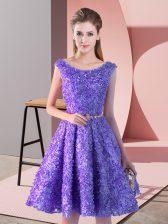 Noble Lavender Lace Up Homecoming Dress Belt Sleeveless Knee Length