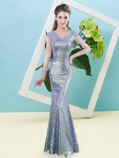 Decent Lavender Prom Dress Prom and Party with Sequins V-neck Cap Sleeves Zipper