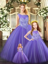 New Style Ball Gowns Quinceanera Dress Lavender Scoop Tulle Sleeveless Floor Length Lace Up
