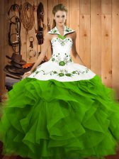 Sleeveless Floor Length Embroidery and Ruffles Lace Up Quinceanera Dresses