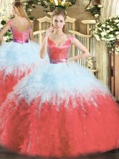 Sumptuous Organza Sleeveless Floor Length Quinceanera Gown and Ruffles
