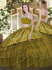 Cheap Floor Length Olive Green Quinceanera Dresses Tulle Sleeveless Beading and Embroidery and Ruffled Layers