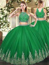 Dark Green Zipper High-neck Beading and Ruffles Quinceanera Gowns Tulle Sleeveless
