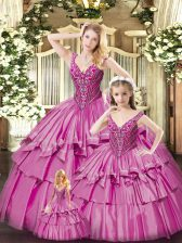 Fuchsia Ball Gowns Organza V-neck Sleeveless Beading and Ruffled Layers Floor Length Lace Up Sweet 16 Quinceanera Dress
