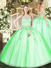 Great Sleeveless Floor Length Lace and Appliques Zipper Ball Gown Prom Dress