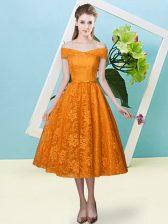 Orange Red Empire Bowknot Damas Dress Lace Up Lace Cap Sleeves Tea Length