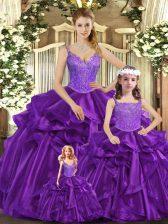 Beauteous Sleeveless Lace Up Floor Length Beading and Ruffles Sweet 16 Dresses