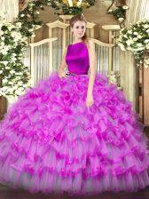 Superior Fuchsia Scoop Neckline Ruffled Layers Sweet 16 Dresses Sleeveless Clasp Handle