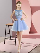 High End Beading and Bowknot Prom Gown Lavender Zipper Sleeveless Mini Length