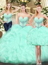 Edgy Floor Length Ball Gowns Sleeveless Apple Green Sweet 16 Dresses Lace Up