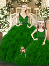 Green Quinceanera Gowns Military Ball and Sweet 16 and Quinceanera with Ruffles V-neck Sleeveless Zipper