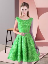 Knee Length A-line Sleeveless Green Dress for Prom Lace Up
