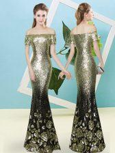 Gold V-neck Zipper Sequins Homecoming Dress Short Sleeves
