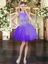 Purple Lace Up Scoop Beading Prom Dress Tulle Sleeveless