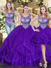 High End Sleeveless Tulle Floor Length Lace Up Quinceanera Gown in Purple with Beading and Ruffles