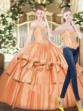 Orange Red Organza Lace Up Off The Shoulder Sleeveless Floor Length Vestidos de Quinceanera Beading and Ruffled Layers