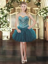 Sleeveless Mini Length Beading and Ruffles Lace Up Prom Dresses with Teal