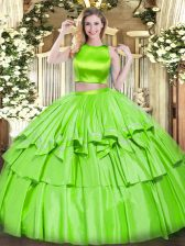 Vintage Floor Length Criss Cross 15 Quinceanera Dress for Military Ball and Sweet 16 and Quinceanera with Ruffled Layers