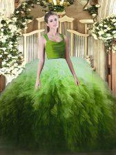 Multi-color Tulle Zipper Sweet 16 Quinceanera Dress Sleeveless Floor Length Ruffles