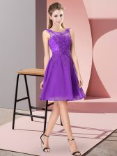 Purple Scoop Zipper Appliques Vestidos de Damas Sleeveless