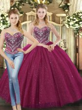 Fuchsia Lace Up Sweetheart Beading Quinceanera Dress Tulle Sleeveless