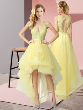 Yellow Tulle Backless Dama Dress Sleeveless High Low Beading and Lace