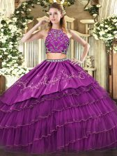 Burgundy Tulle Zipper High-neck Sleeveless Floor Length Ball Gown Prom Dress Beading and Embroidery and Ruffled Layers