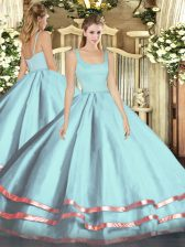 Attractive Light Blue Tulle Zipper Straps Sleeveless Floor Length Quince Ball Gowns Ruffled Layers