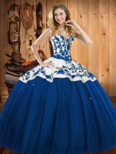 Beautiful Sweetheart Sleeveless Lace Up Quinceanera Dresses Blue Satin and Tulle