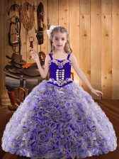Multi-color Ball Gowns Embroidery and Ruffles Child Pageant Dress Lace Up Fabric With Rolling Flowers Sleeveless Floor Length