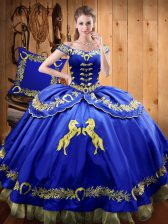 Royal Blue Ball Gowns Beading and Embroidery Quinceanera Gowns Lace Up Satin and Organza Sleeveless Floor Length