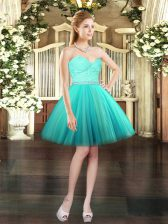 Aqua Blue Ball Gowns Sweetheart Sleeveless Tulle Mini Length Lace Up Beading and Lace Dress for Prom