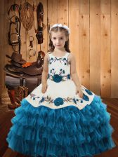 Admirable Organza Straps Sleeveless Lace Up Embroidery and Ruffled Layers Little Girl Pageant Gowns in Teal