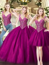 Affordable Sleeveless Floor Length Beading Lace Up Quince Ball Gowns with Fuchsia