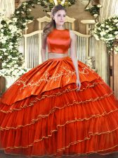 Floor Length Orange Red Ball Gown Prom Dress High-neck Sleeveless Criss Cross