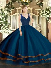 Smart Navy Blue Organza Backless V-neck Sleeveless Floor Length Sweet 16 Dresses Beading and Lace and Ruffled Layers
