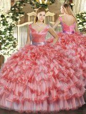 Popular Watermelon Red Ball Gowns Ruffled Layers Sweet 16 Dresses Zipper Organza Sleeveless Floor Length