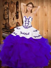 Wonderful Strapless Sleeveless Satin and Organza Quinceanera Gowns Embroidery and Ruffles Lace Up