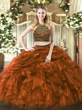 Eye-catching Brown Two Pieces Beading and Ruffles 15th Birthday Dress Zipper Tulle Sleeveless Floor Length