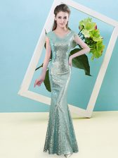 Dramatic Teal Mermaid Sequined V-neck Cap Sleeves Sequins Floor Length Zipper Prom Dresses