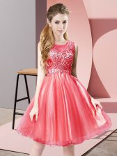 Fantastic Coral Red A-line Tulle Scoop Sleeveless Beading Knee Length Zipper Homecoming Dress