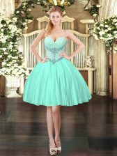 Apple Green Sweetheart Lace Up Beading Prom Dresses Sleeveless