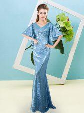 Baby Blue Mermaid Sequined V-neck Half Sleeves Sequins Floor Length Zipper Prom Gown