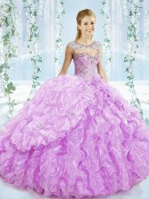 Delicate Lilac Ball Gowns Sweetheart Sleeveless Organza Brush Train Lace Up Beading and Ruffles Vestidos de Quinceanera