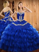 Glamorous Sleeveless Embroidery and Ruffled Layers Lace Up 15th Birthday Dress