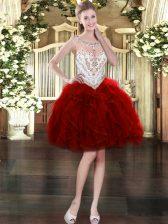 Sleeveless Beading and Ruffles Zipper Prom Gown
